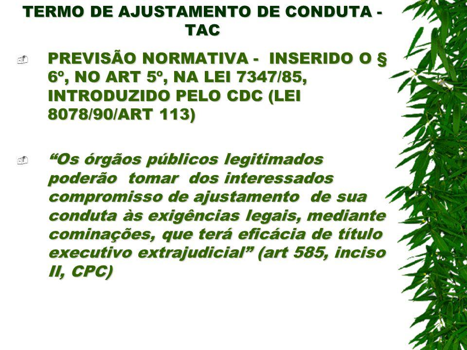 TERMO DE AJUSTAMENTO DE CONDUTA - TAC PREVISÃO NORMATIVA - INSERIDO O § 6º, NO ART 5º, NA LEI 7347/85, INTRODUZIDO PELO CDC (LEI 8078/90/ART 113) PREV