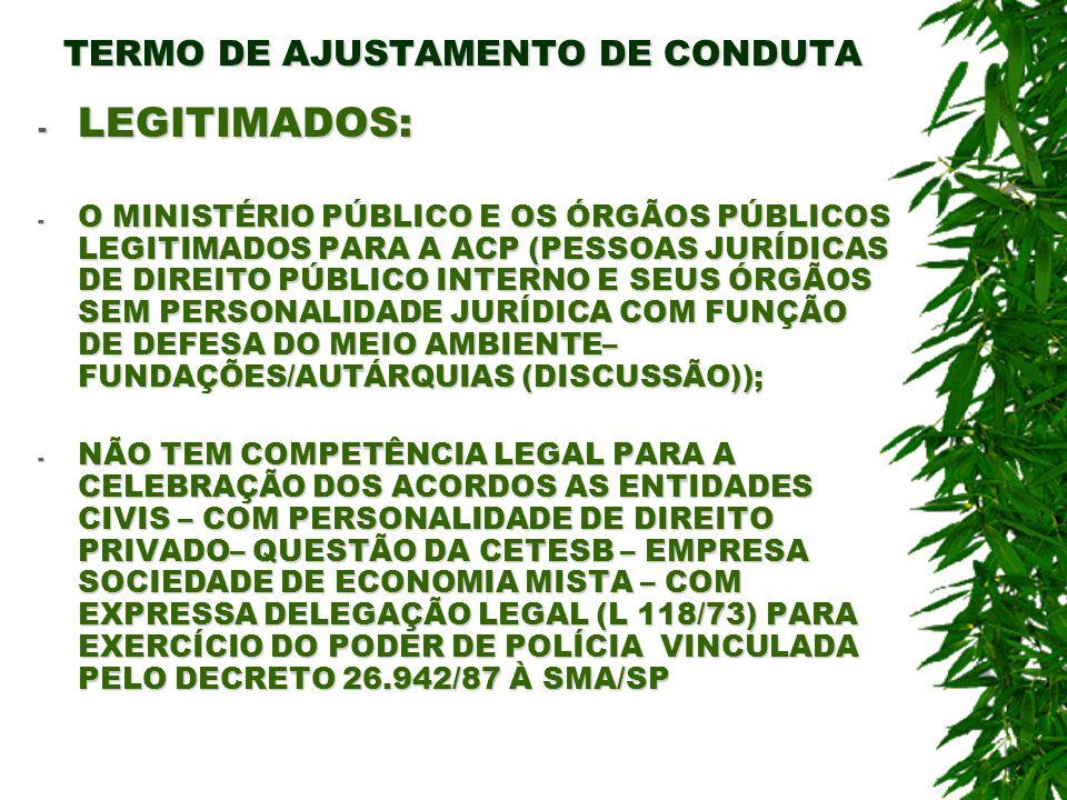 TERMO DE AJUSTAMENTO DE CONDUTA - LEGITIMADOS: - O MINISTÉRIO PÚBLICO E OS ÓRGÃOS PÚBLICOS LEGITIMADOS PARA A ACP (PESSOAS JURÍDICAS DE DIREITO PÚBLIC