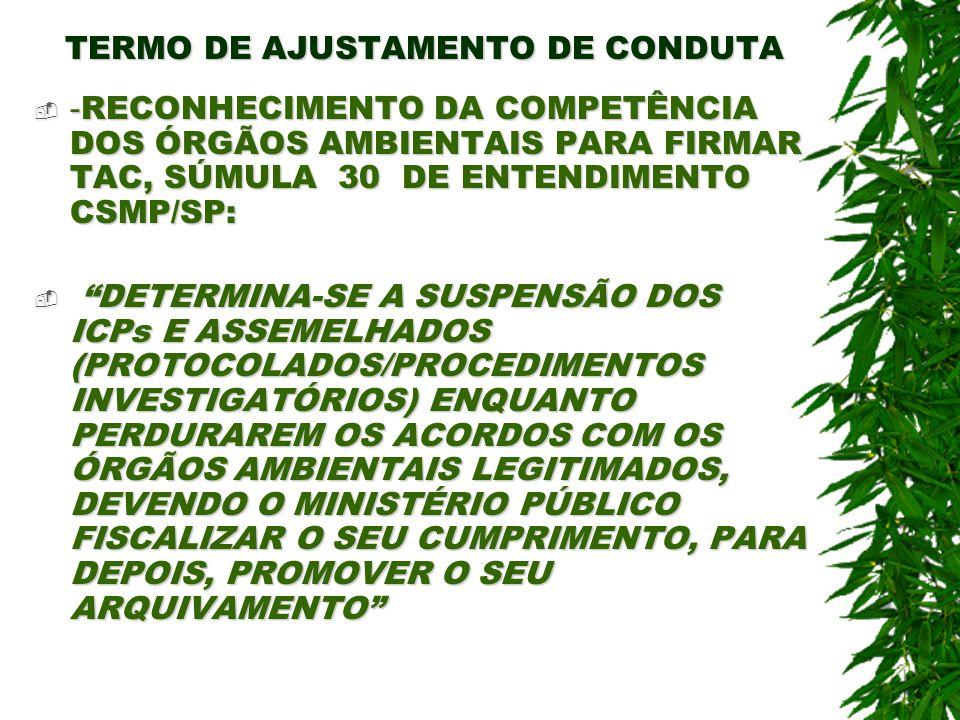 TERMO DE AJUSTAMENTO DE CONDUTA - RECONHECIMENTO DA COMPETÊNCIA DOS ÓRGÃOS AMBIENTAIS PARA FIRMAR TAC, SÚMULA 30 DE ENTENDIMENTO CSMP/SP: - RECONHECIM
