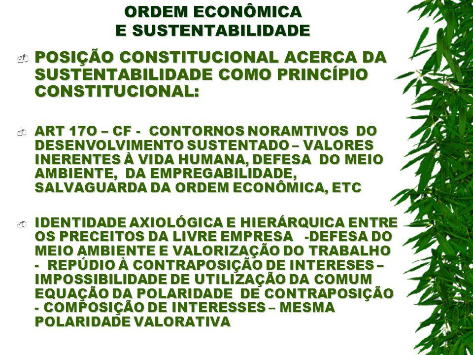 ORDEM ECONÔMICA E SUSTENTABILIDADE REGRAS DE PERTINÊNCIA INTERPRETAVIVA CONSTITUCIONAL: REGRAS DE PERTINÊNCIA INTERPRETAVIVA CONSTITUCIONAL: O PRECEITO CONSTITUCIONAL SOMENTE SE REALIZARÁ COM A CONSECUÇÃO DE TODOS OS VALORES – O MENOSCABO DE UM EM FAVOR DE OUTRO REPRESENTA VIOLAÇÃO DE AMBOS E RUPTURA DA ORDEM ECONÔMICA CONSTITUCIONAL O PRECEITO CONSTITUCIONAL SOMENTE SE REALIZARÁ COM A CONSECUÇÃO DE TODOS OS VALORES – O MENOSCABO DE UM EM FAVOR DE OUTRO REPRESENTA VIOLAÇÃO DE AMBOS E RUPTURA DA ORDEM ECONÔMICA CONSTITUCIONAL A CF APONTA PARA A EXIGÊNCIA DE HARMONIZAÇÃO E ESTABILIDADE ENTRE OS PRINCÍPIOS DA DEFESA DO AMBIENTE E DA LIVRE EMPRESA, COM O DESENVOLVIMENTO DA ATIVIDADE ECONÔMICA A CF APONTA PARA A EXIGÊNCIA DE HARMONIZAÇÃO E ESTABILIDADE ENTRE OS PRINCÍPIOS DA DEFESA DO AMBIENTE E DA LIVRE EMPRESA, COM O DESENVOLVIMENTO DA ATIVIDADE ECONÔMICA TODAS AS NORMAS QUE EXECUTAM TAL FUNÇÃO – SÃO CONHECIDAS COMO NORMAS DE INTEGRAÇÃO AXIOLÓGICA NORMATIVA – PONTES DE MIRANDA – TRATADO DE DIREITO PRIVADO, VOL 1, PÁG 65 TODAS AS NORMAS QUE EXECUTAM TAL FUNÇÃO – SÃO CONHECIDAS COMO NORMAS DE INTEGRAÇÃO AXIOLÓGICA NORMATIVA – PONTES DE MIRANDA – TRATADO DE DIREITO PRIVADO, VOL 1, PÁG 65