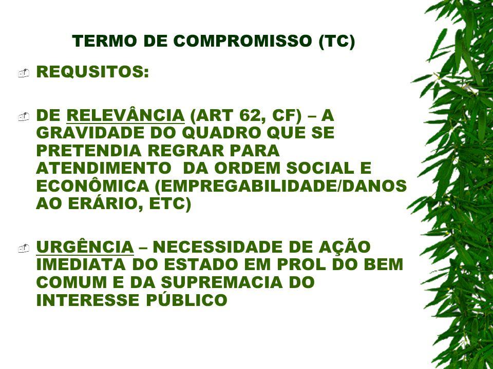 TERMO DE COMPROMISSO (TC) REQUSITOS: DE RELEVÂNCIA (ART 62, CF) – A GRAVIDADE DO QUADRO QUE SE PRETENDIA REGRAR PARA ATENDIMENTO DA ORDEM SOCIAL E ECO
