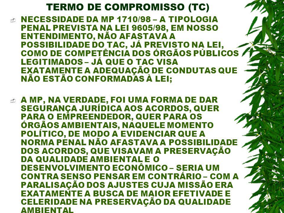 TERMO DE COMPROMISSO (TC) NECESSIDADE DA MP 1710/98 – A TIPOLOGIA PENAL PREVISTA NA LEI 9605/98, EM NOSSO ENTENDIMENTO, NÃO AFASTAVA A POSSIBILIDADE D