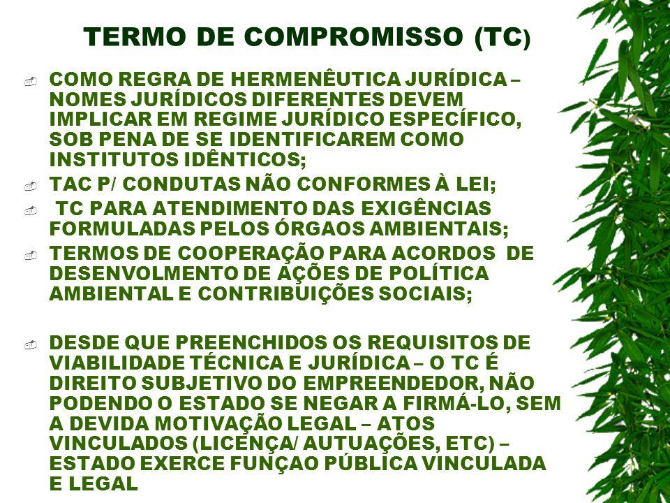 TERMO DE COMPROMISSO (TC ) COMO REGRA DE HERMENÊUTICA JURÍDICA – NOMES JURÍDICOS DIFERENTES DEVEM IMPLICAR EM REGIME JURÍDICO ESPECÍFICO, SOB PENA DE