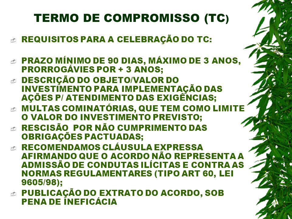 TERMO DE COMPROMISSO (TC ) REQUISITOS PARA A CELEBRAÇÃO DO TC: PRAZO MÍNIMO DE 90 DIAS, MÁXIMO DE 3 ANOS, PRORROGÁVIES POR + 3 ANOS; DESCRIÇÃO DO OBJE