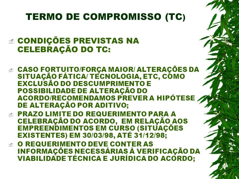 TERMO DE COMPROMISSO (TC ) CONDIÇÕES PREVISTAS NA CELEBRAÇÃO DO TC: CASO FORTUITO/FORÇA MAIOR/ ALTERAÇÕES DA SITUAÇÃO FÁTICA/ TECNOLOGIA, ETC, COMO EX