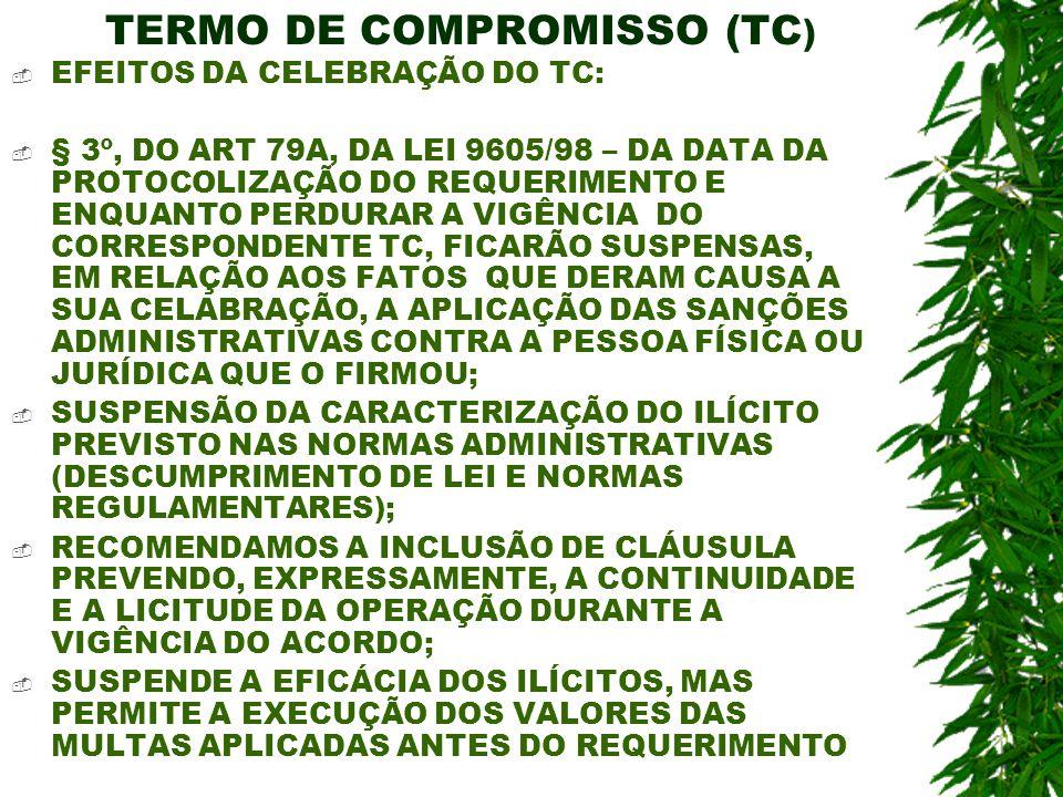 TERMO DE COMPROMISSO (TC ) EFEITOS DA CELEBRAÇÃO DO TC: § 3º, DO ART 79A, DA LEI 9605/98 – DA DATA DA PROTOCOLIZAÇÃO DO REQUERIMENTO E ENQUANTO PERDUR