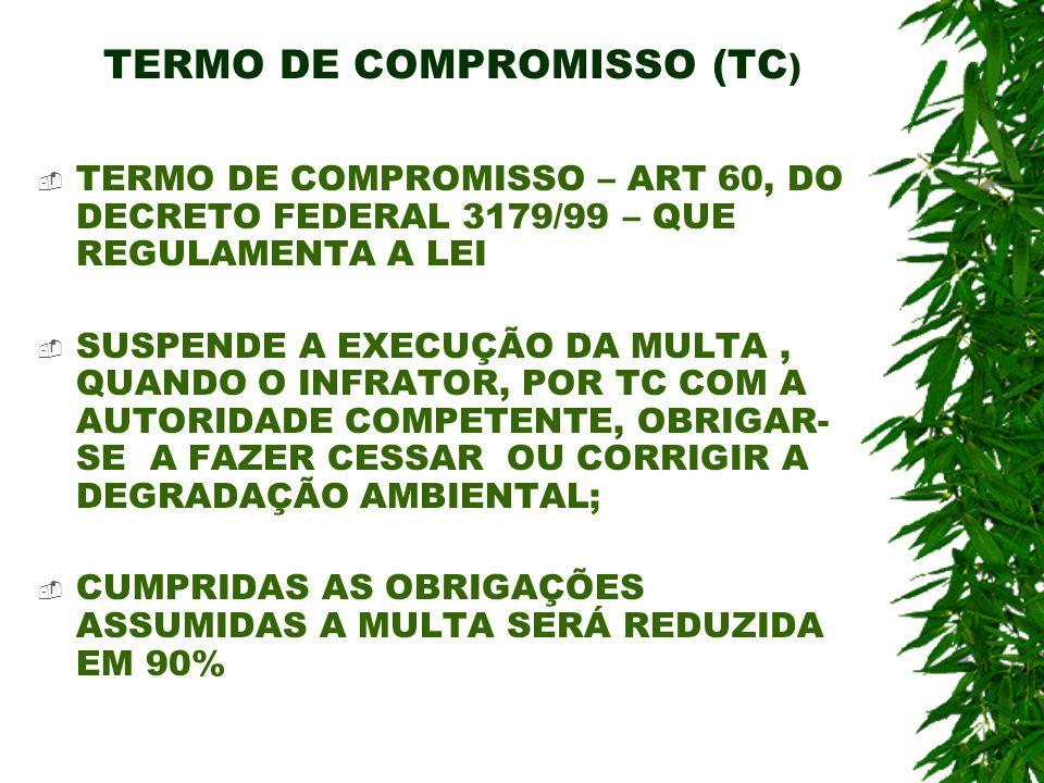 TERMO DE COMPROMISSO (TC ) TERMO DE COMPROMISSO – ART 60, DO DECRETO FEDERAL 3179/99 – QUE REGULAMENTA A LEI SUSPENDE A EXECUÇÃO DA MULTA, QUANDO O IN