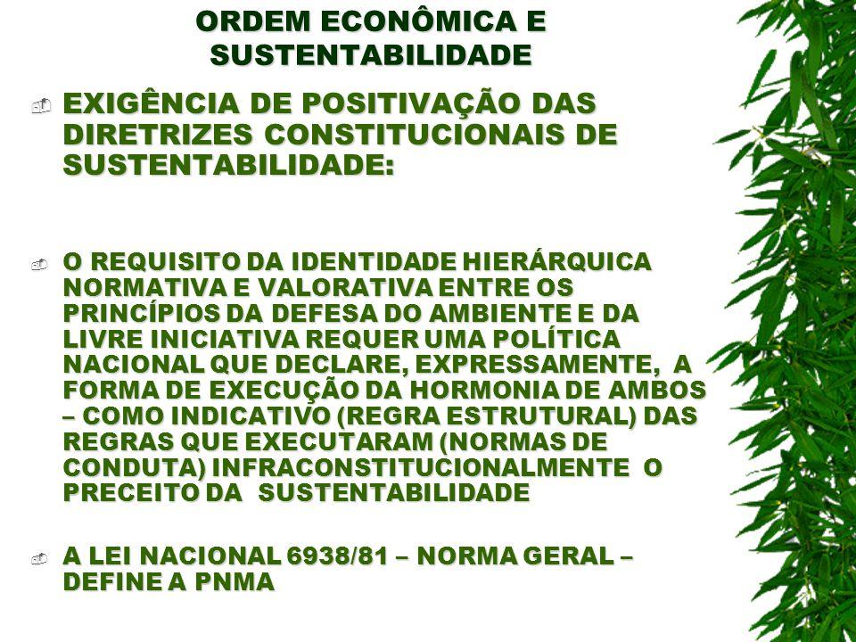 ORDEM ECONÔMICA E SUSTENTABILIDADE A PNMA (REGRA ESTRUTURAL) QUE CONTEMPLA DIRETRIZES PARA QUE AS NORMAS JURÍDICAS EXECUTEM O PRECEITO DA SUSTENTABILIDADE : A PNMA (REGRA ESTRUTURAL) QUE CONTEMPLA DIRETRIZES PARA QUE AS NORMAS JURÍDICAS EXECUTEM O PRECEITO DA SUSTENTABILIDADE : PNMA – É O CONJUNTO DE PRINCÍPIOS E DIRETRIZES DE SUSTENTABILIDADE, CONTEMPLANDO OS INSTRUMENTOS LEGAIS, ADMINISTRATIVOS, TÉCNICOS, POLÍTICOS, ECONÔMICOS QUE VISAM HARMONIZAR E ESTABILIZAR AS EXIGÊNCIAS DE DESENVOLVIMENTO ECONÔMICO E SOCIAL E A PRESERVAÇÃO DA QUALIDADE DO AMBIENTE - NÃO SE ESGOTAM NA LEI NACIONAL 6938/81 – MAS, TEM NELA SEU MAIOR REFERENCIAL DE REALIZAÇÃO PNMA – É O CONJUNTO DE PRINCÍPIOS E DIRETRIZES DE SUSTENTABILIDADE, CONTEMPLANDO OS INSTRUMENTOS LEGAIS, ADMINISTRATIVOS, TÉCNICOS, POLÍTICOS, ECONÔMICOS QUE VISAM HARMONIZAR E ESTABILIZAR AS EXIGÊNCIAS DE DESENVOLVIMENTO ECONÔMICO E SOCIAL E A PRESERVAÇÃO DA QUALIDADE DO AMBIENTE - NÃO SE ESGOTAM NA LEI NACIONAL 6938/81 – MAS, TEM NELA SEU MAIOR REFERENCIAL DE REALIZAÇÃO OBJETIVO DA PNMA – HARMONIZAÇÃO DA DEFESA DO AMBIENTE COM AS EXIGÊNCIAS DE DESENVOLVIMENTO ECOÑÔMICO E SOCIAL OBJETIVO DA PNMA – HARMONIZAÇÃO DA DEFESA DO AMBIENTE COM AS EXIGÊNCIAS DE DESENVOLVIMENTO ECOÑÔMICO E SOCIAL