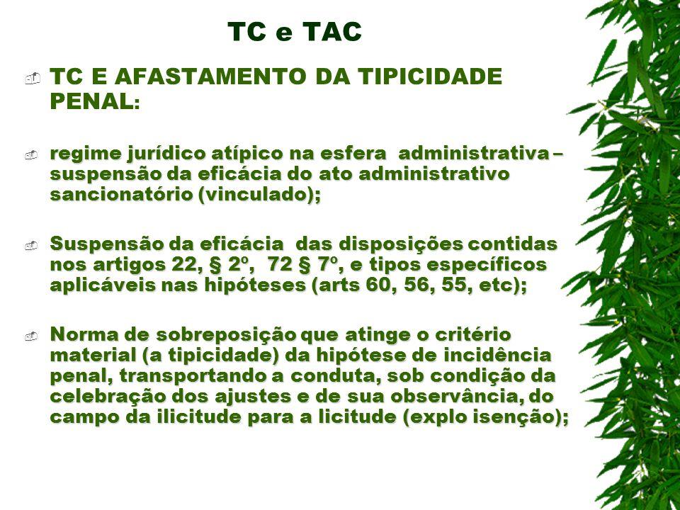 TC e TAC TC E AFASTAMENTO DA TIPICIDADE PENAL : regime jurídico atípico na esfera administrativa – suspensão da eficácia do ato administrativo sancion