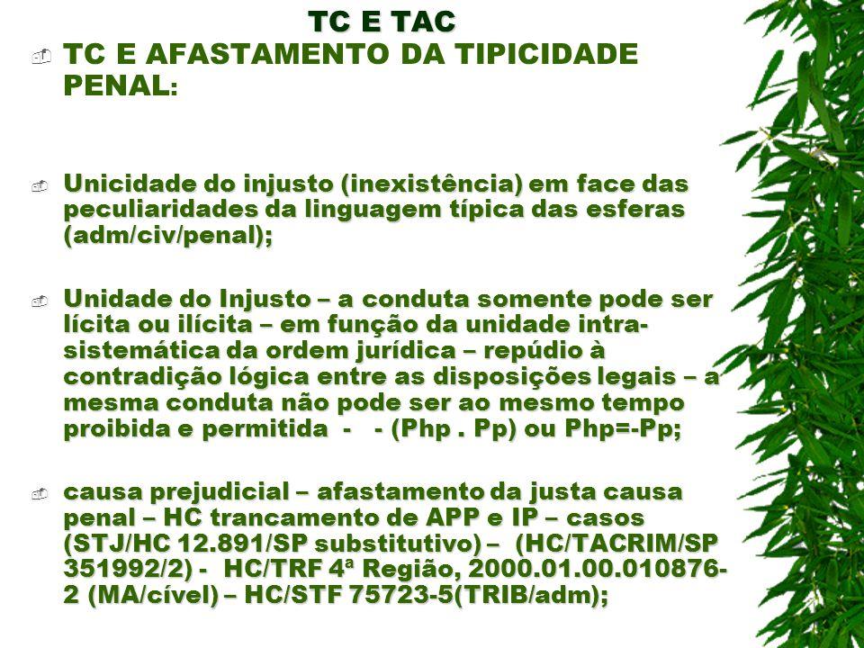 TC E TAC TC E AFASTAMENTO DA TIPICIDADE PENAL : Unicidade do injusto (inexistência) em face das peculiaridades da linguagem típica das esferas (adm/ci