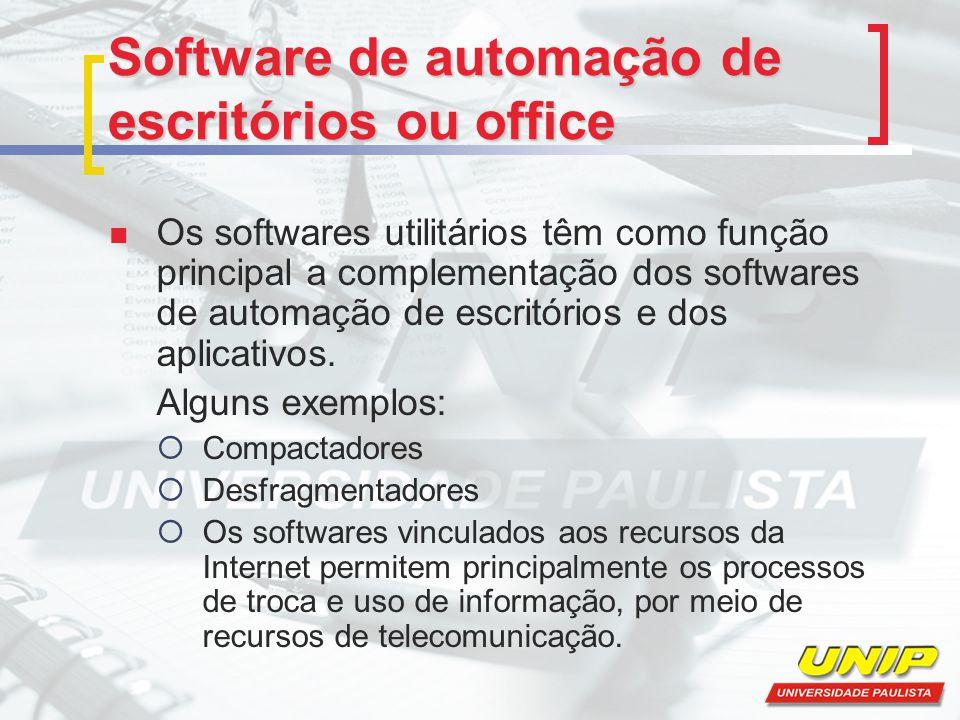 Software de automação de escritórios ou office Os softwares utilitários têm como função principal a complementação dos softwares de automação de escri