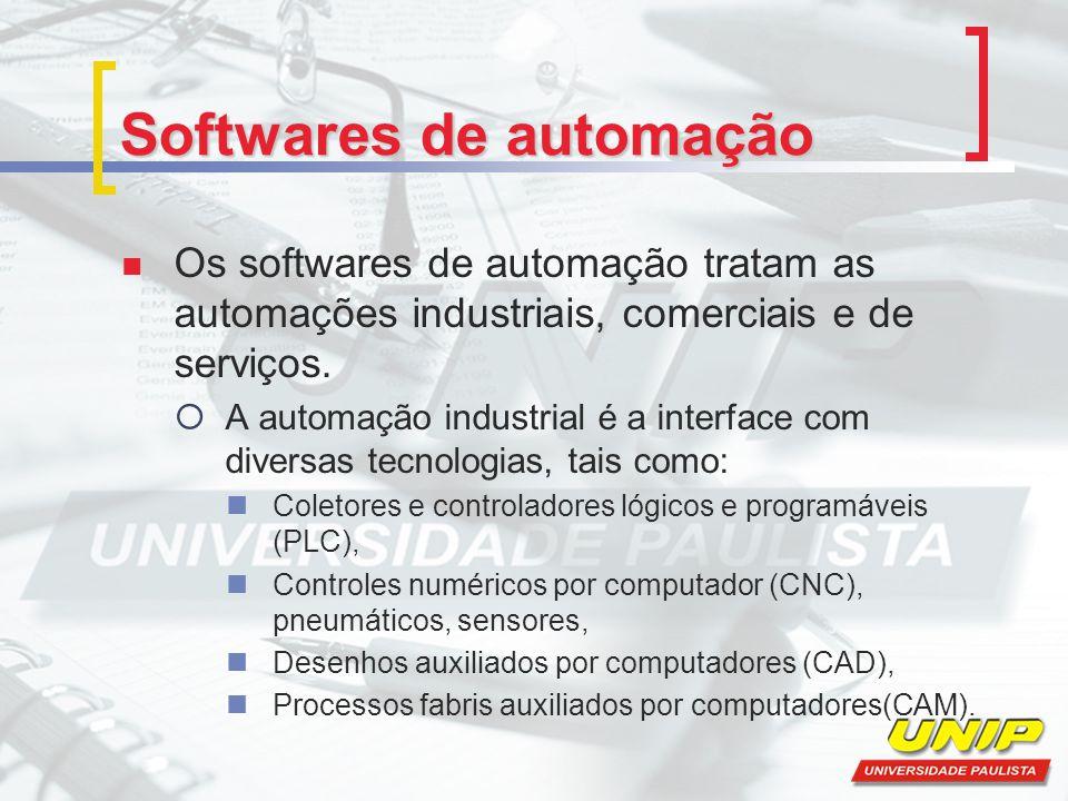 Softwares de automação Os softwares de automação tratam as automações industriais, comerciais e de serviços. A automação industrial é a interface com