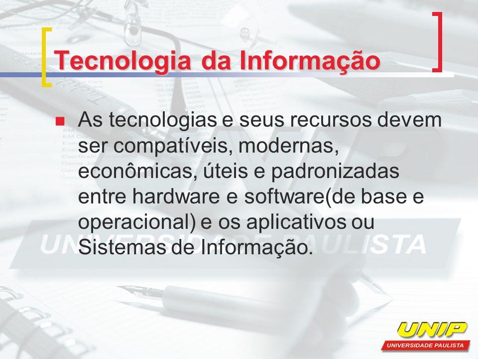 Componentes da tecnologia da informação A Tecnologia da Informação está fundamentada nos seguintes componentes: Hardware e seus dispositivos periféricos; Software e seus recursos; Sistemas de telecomunicações; Gestão de dados e informações;