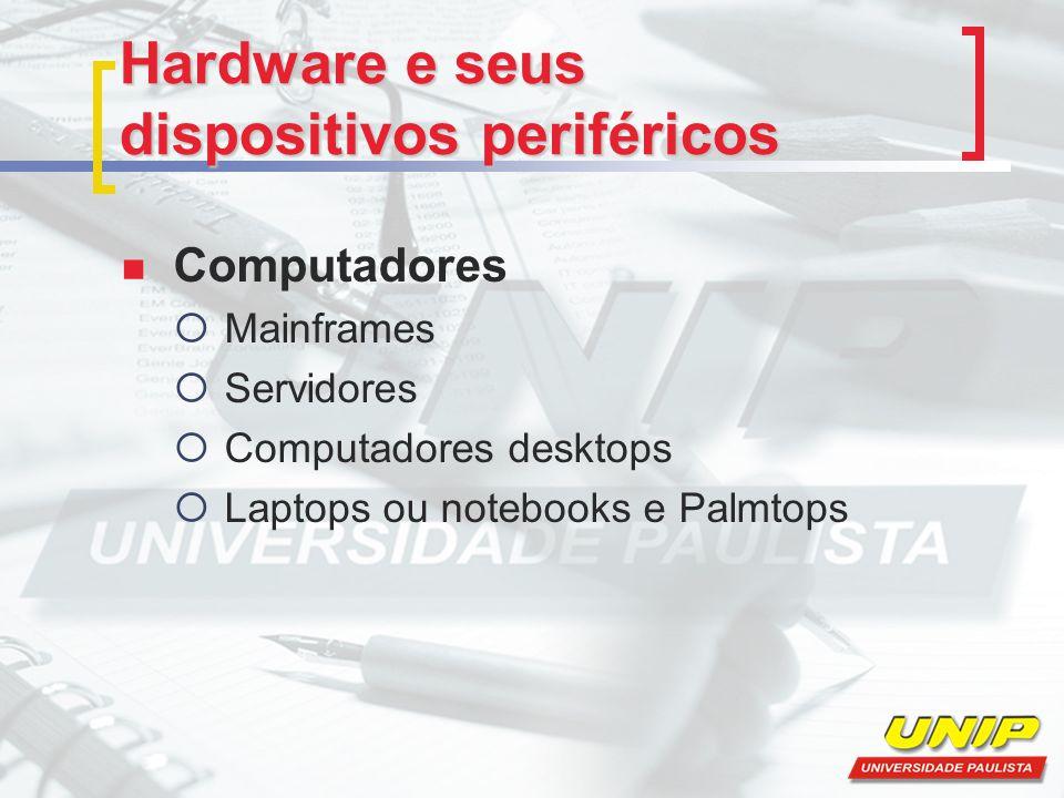 Periféricos dos computadores Os periféricos são os dispositivos que trabalham em conjunto com o computador.
