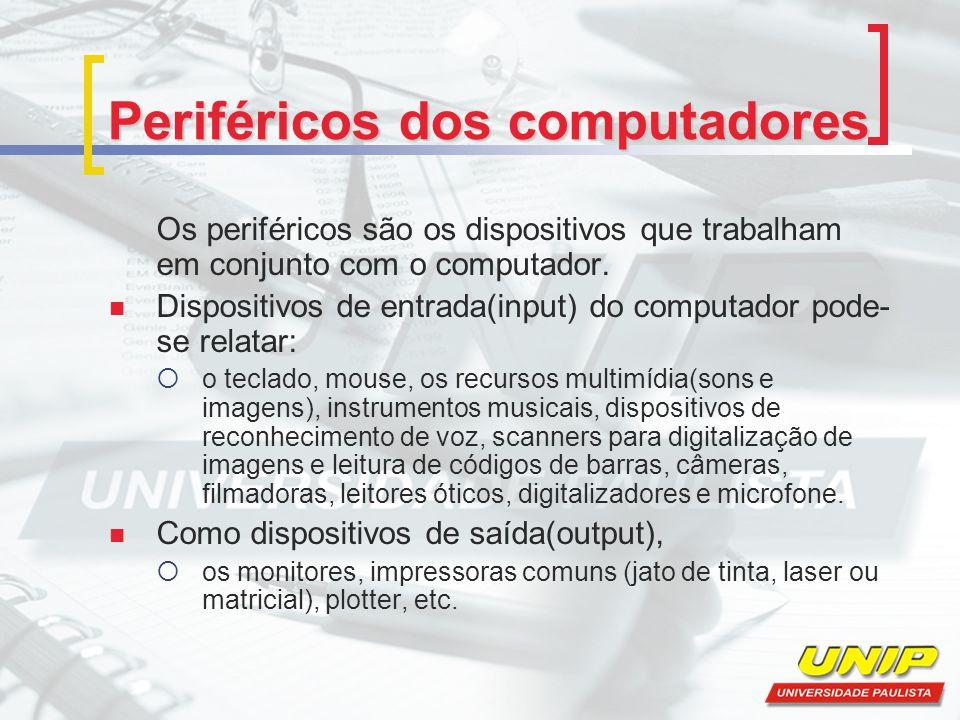 Periféricos dos computadores Os periféricos são os dispositivos que trabalham em conjunto com o computador. Dispositivos de entrada(input) do computad