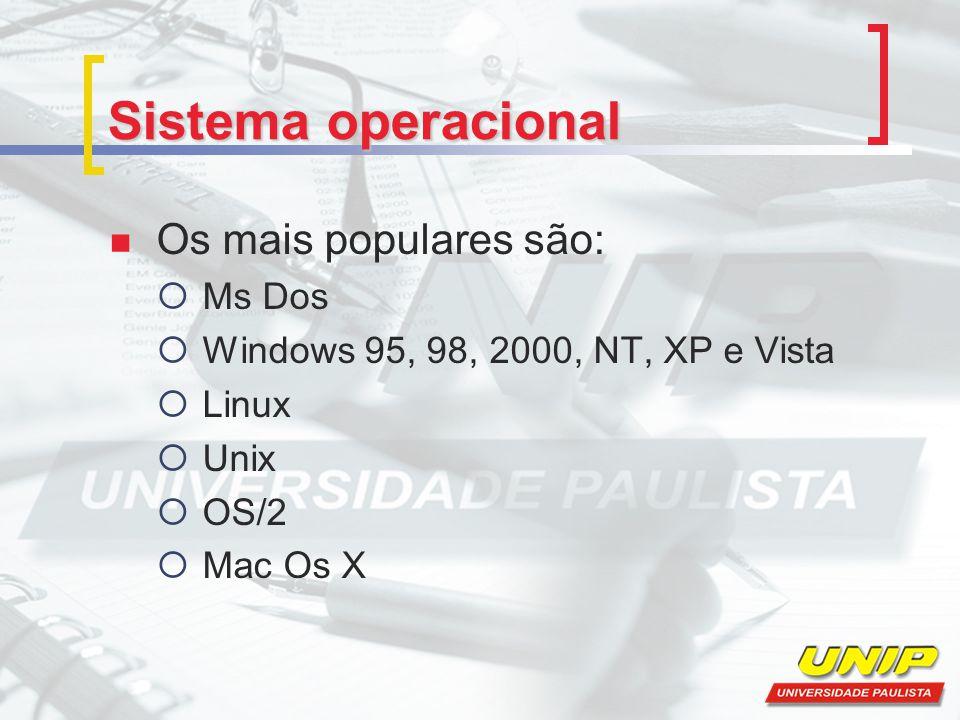 Sistema operacional Os mais populares são: Ms Dos Windows 95, 98, 2000, NT, XP e Vista Linux Unix OS/2 Mac Os X