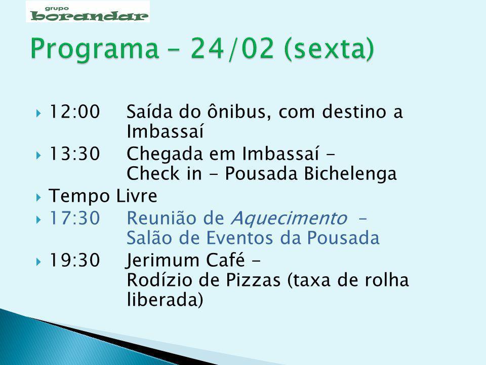 07:00Café da manhã 07:45Saída do ônibus 08:30 Início da Caminhada - Barra do Jacuípe 10:30Praça de Guarajuba - Parada técnica (xixi, etc.) 12:30 Chegada - Foz do Rio Pojuca 13:30 Retorno de ônibus a Imbassaí Tempo Livre 20:30 Restaurante da Pousada Bichelenga - Jantar (taxa de rolha liberada) – R$ 23,00 p/pessoa debitados na conta da pousada