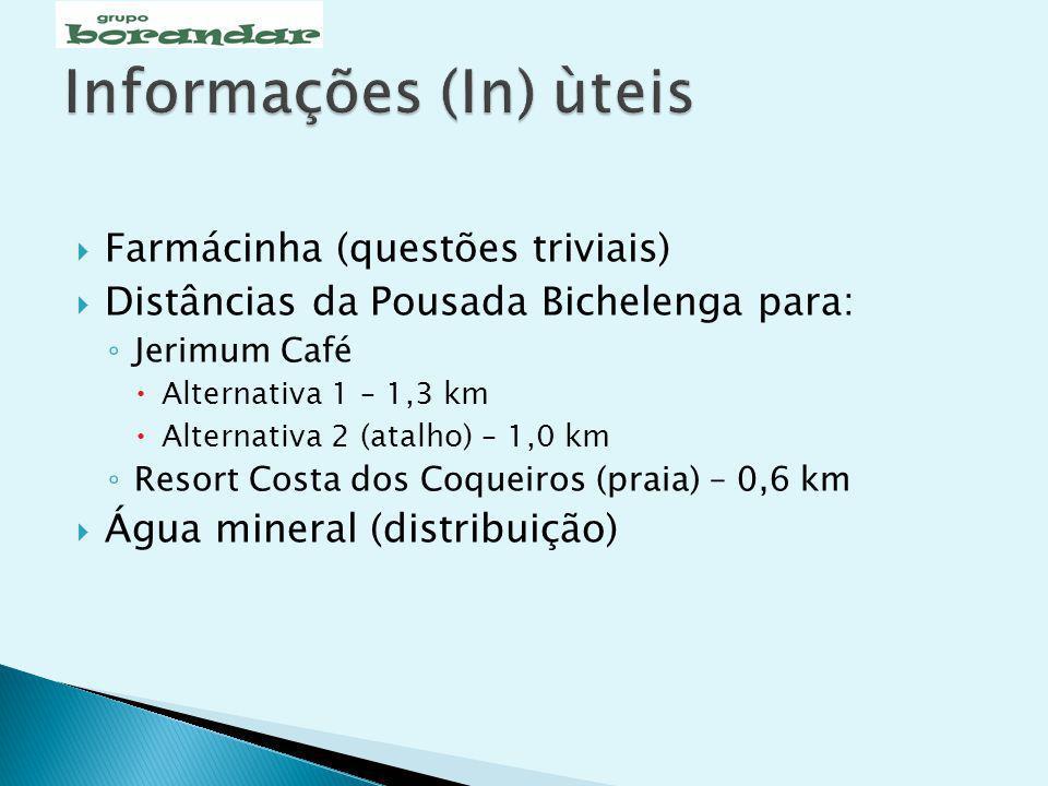 Farmácinha (questões triviais) Distâncias da Pousada Bichelenga para: Jerimum Café Alternativa 1 – 1,3 km Alternativa 2 (atalho) – 1,0 km Resort Costa