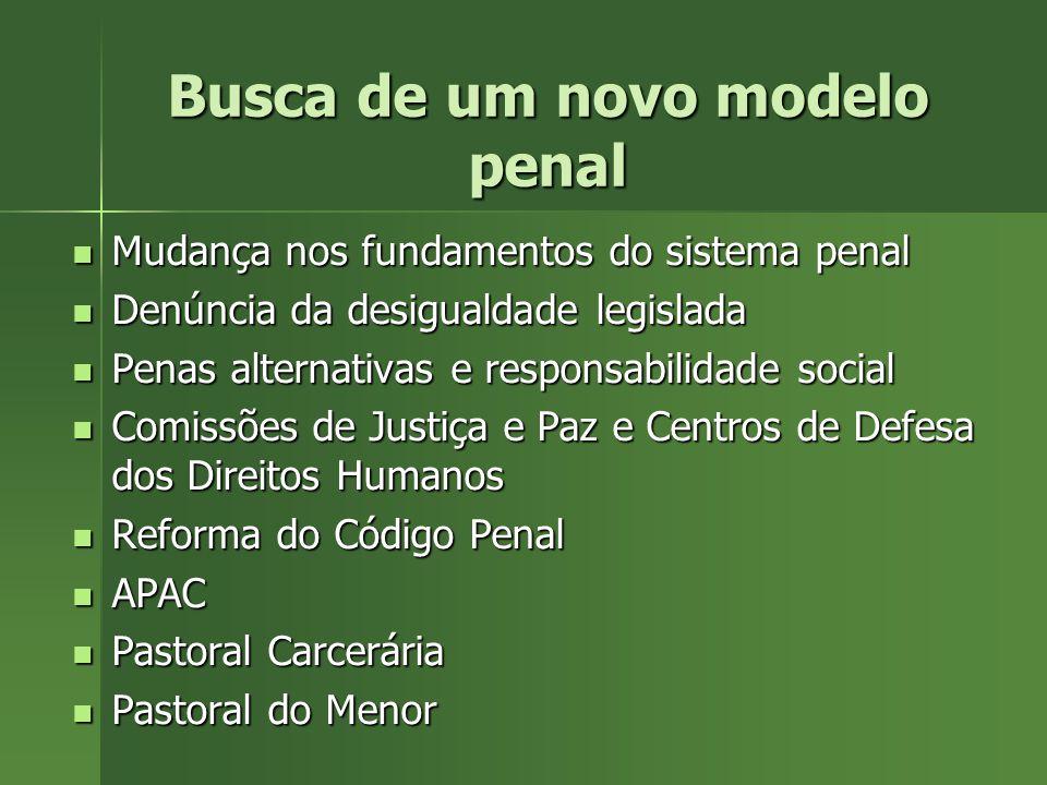 Falência do modelo penal tradicional Pena = multa ou reclusão Pena = multa ou reclusão Multa – legalidade ligada ao pagamento e não à mudança de compo