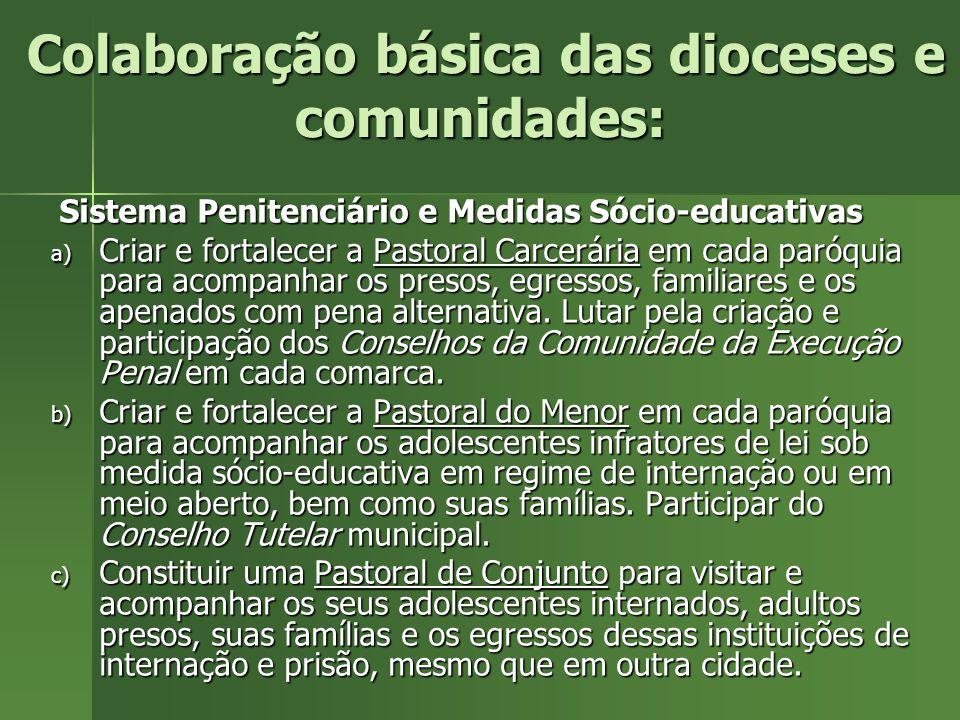 Colaboração básica das dioceses e comunidades Polícia: Colaborar com a criação e fomentação aos Conselhos Comunitários Autônomos de Segurança Pública
