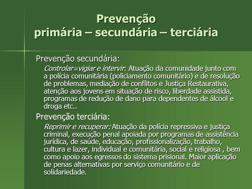 Prevenção : primária – secundária – terciária A prevenção deve se dar em 3 níveis: A prevenção deve se dar em 3 níveis: Prevenção primária: –Investir