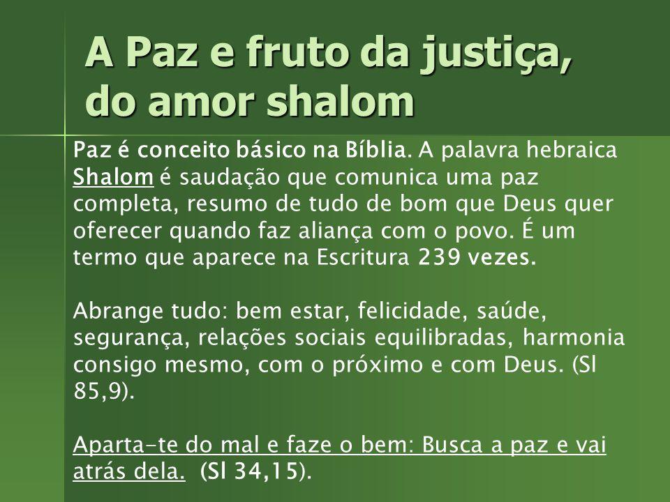 A Paz e fruto da justiça, do amor shalom Amor entre os filhos de Deus conduz à Paz, ao Shalom. Amor entre os filhos de Deus conduz à Paz, ao Shalom.