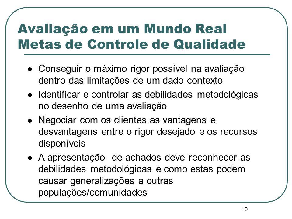 9 Checando a realidade – Desafios da Avaliação do Mundo Real Em geral, os formuladores de projetos não pensam avaliativamente e a avaliação acaba send