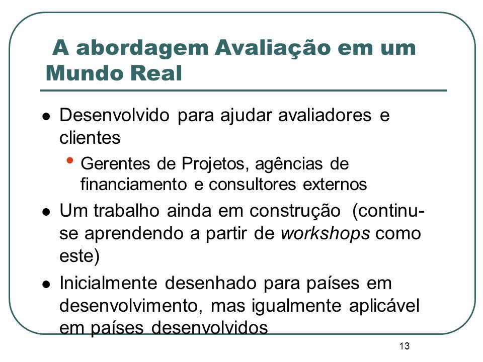 12 A abordagem Avaliação em um Mundo Real um enfoque integrado para assegurar padrões aceitáveis de rigor metodológico enquanto se trabalha sob restri