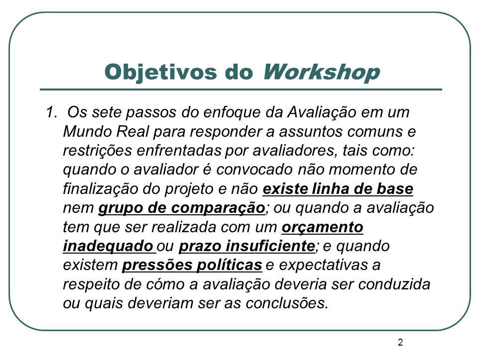 1 Avaliação em um Mundo Real Desenhando Avaliações sob restrições orçamentárias, de tempo, de informação e políticas III Seminário da Rede Brasileira