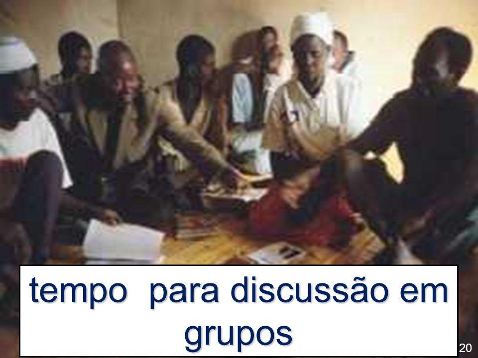 tempo para discussão em grupos 20