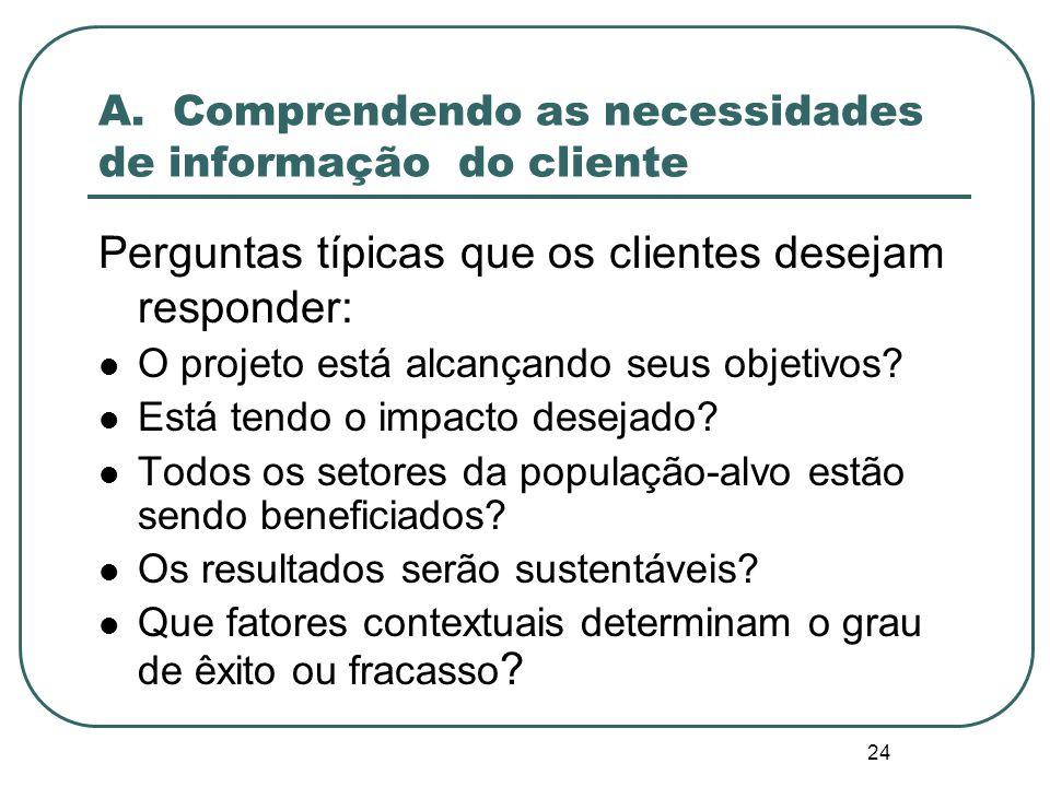 23 Passo1: Planejando e definindo o escopo da avaliação Comprender as necessidades de informação dos clientes Definir o modelo teórico do programa Identificação preliminar de restrições a serem endereçadas pela Avaliação em um Mundo Real