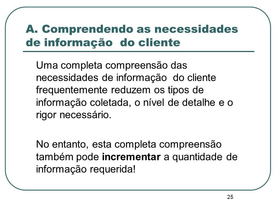 24 A. Comprendendo as necessidades de informação do cliente Perguntas típicas que os clientes desejam responder: O projeto está alcançando seus objeti