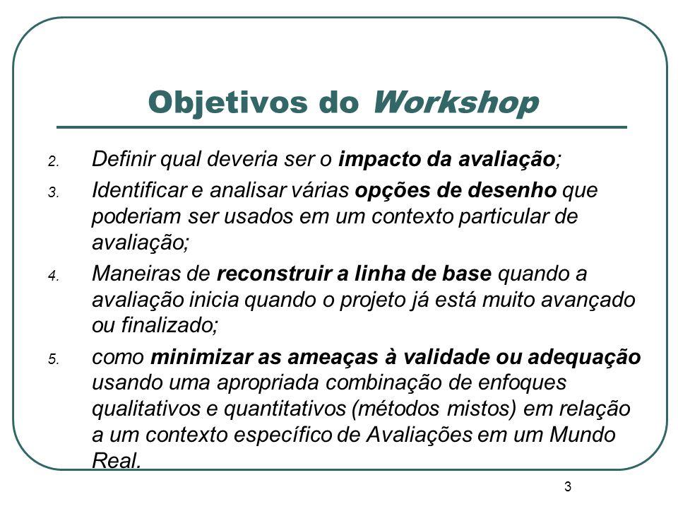 Objetivos do Workshop 1. Os sete passos do enfoque da Avaliação em um Mundo Real para responder a assuntos comuns e restrições enfrentadas por avaliad