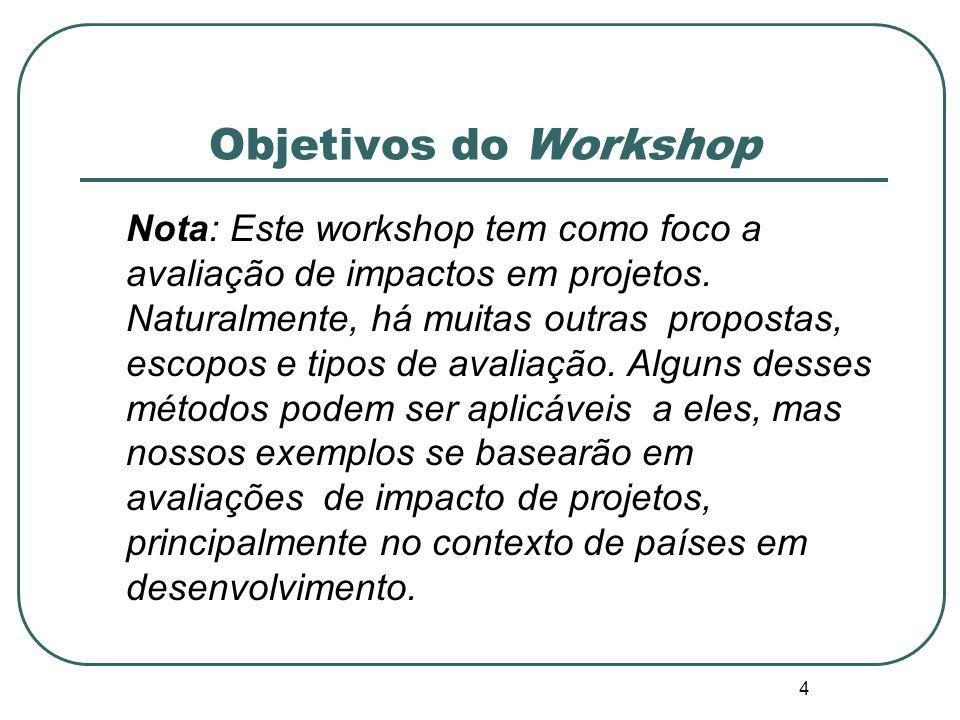 Objetivos do Workshop 2. Definir qual deveria ser o impacto da avaliação; 3. Identificar e analisar várias opções de desenho que poderiam ser usados e