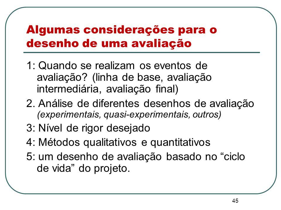 44 Determinando um desenho de avaliação apropriado e viável Com base no principal propósito de conduzir uma avaliação, na compreensão das necessidades