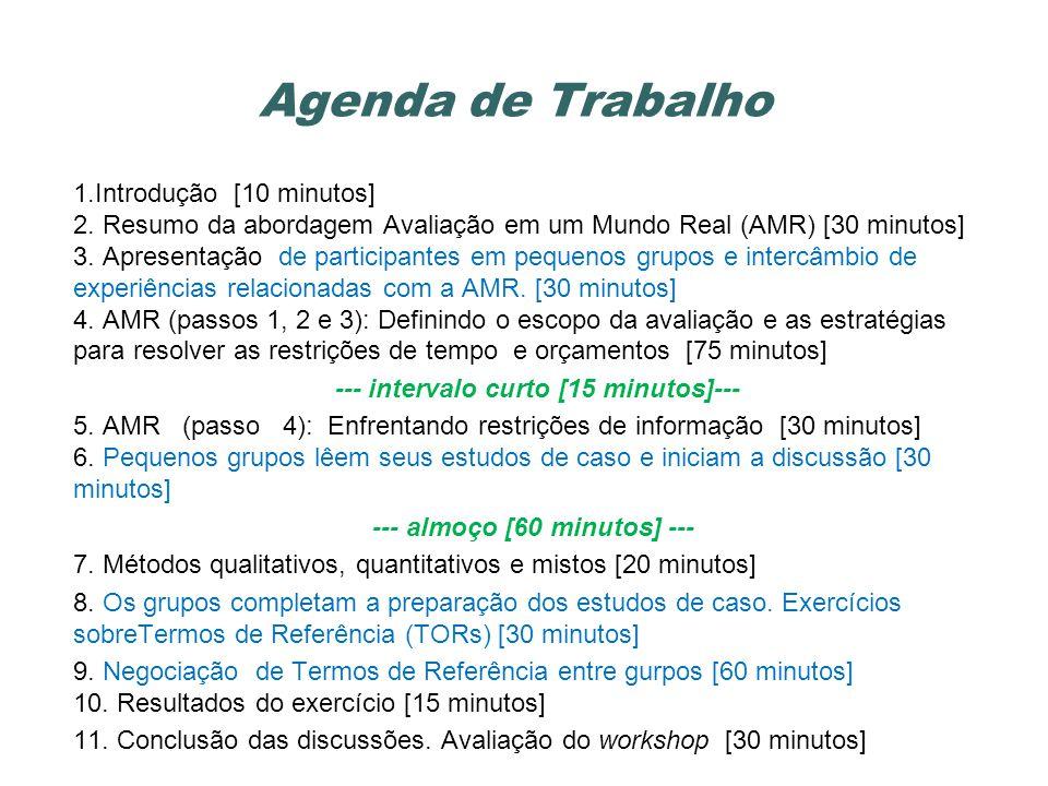 Objetivos do Workshop Nota: Este workshop tem como foco a avaliação de impactos em projetos.
