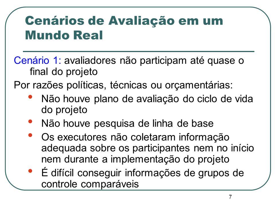 6 Resumo do enfoque AMR Avaliação em um Mundo Real Desenhando Avaliações sob restrições orçamentárias, de tempo, de informação e políticas