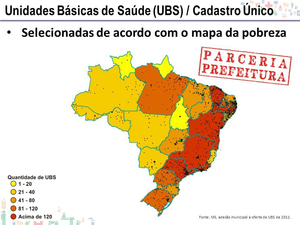 Selecionadas de acordo com o mapa da pobreza Fonte: MS, adesão municipal à oferta de UBS de 2011. Unidades Básicas de Saúde (UBS) / Cadastro Único