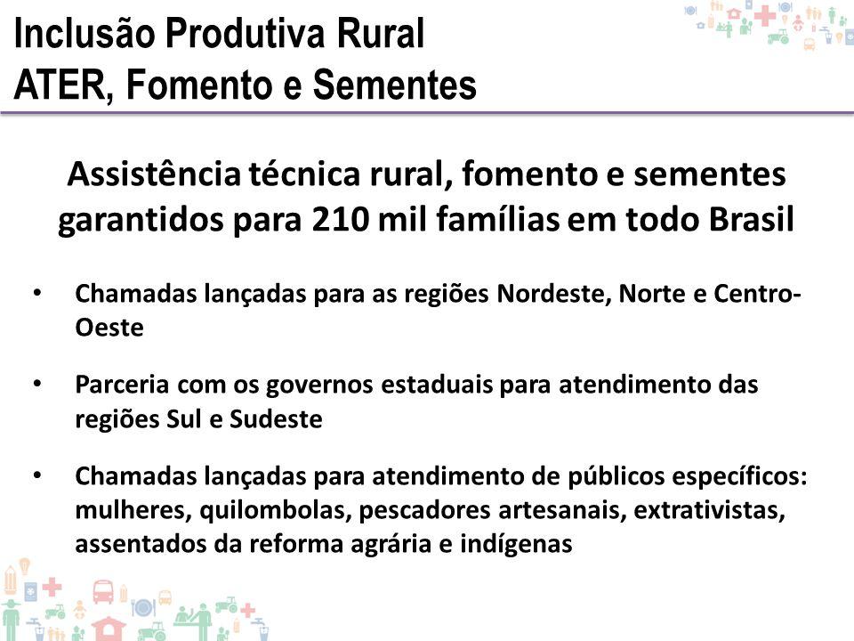 Assistência técnica rural, fomento e sementes garantidos para 210 mil famílias em todo Brasil Chamadas lançadas para as regiões Nordeste, Norte e Cent