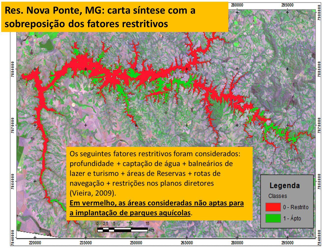 Os seguintes fatores restritivos foram considerados: profundidade + captação de água + balneários de lazer e turismo + áreas de Reservas + rotas de na