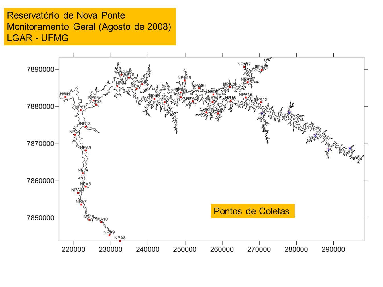 Pontos de Coletas Reservatório de Nova Ponte Monitoramento Geral (Agosto de 2008) LGAR - UFMG