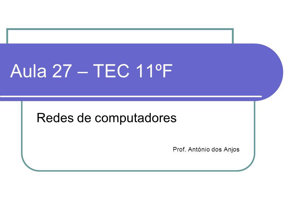 Aula 27 – TEC 11ºF Redes de computadores Prof. António dos Anjos