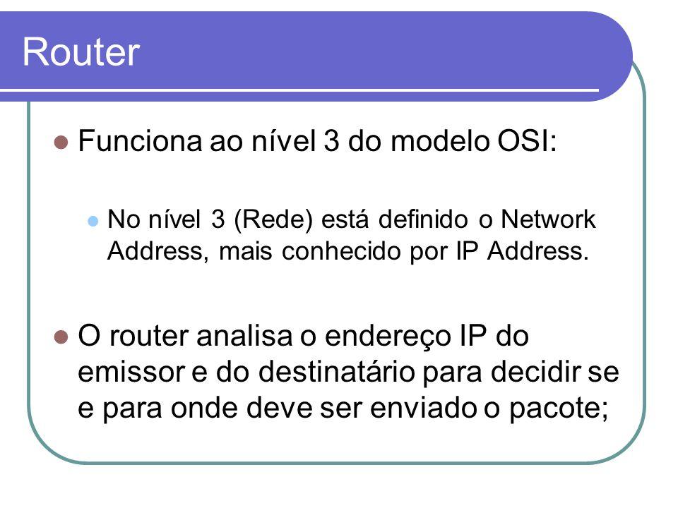 Router Funciona ao nível 3 do modelo OSI: No nível 3 (Rede) está definido o Network Address, mais conhecido por IP Address. O router analisa o endereç
