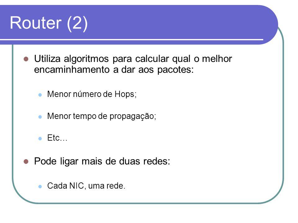 Router (2) Utiliza algoritmos para calcular qual o melhor encaminhamento a dar aos pacotes: Menor número de Hops; Menor tempo de propagação; Etc… Pode
