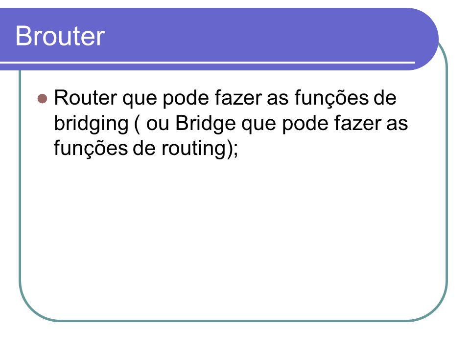 Brouter Router que pode fazer as funções de bridging ( ou Bridge que pode fazer as funções de routing);