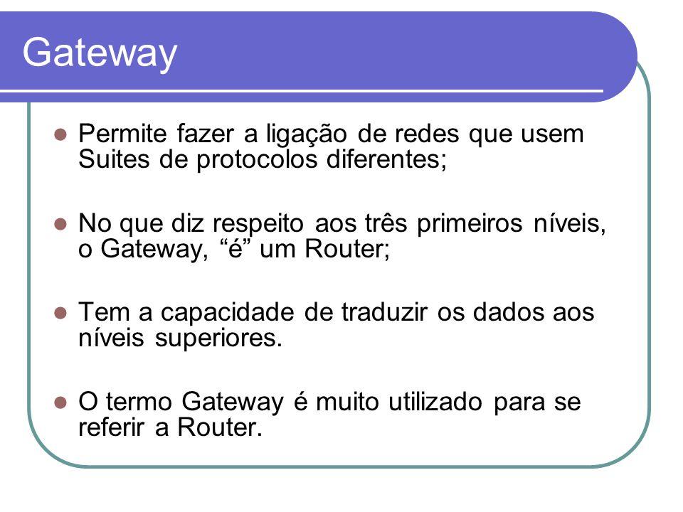 Gateway Permite fazer a ligação de redes que usem Suites de protocolos diferentes; No que diz respeito aos três primeiros níveis, o Gateway, é um Rout