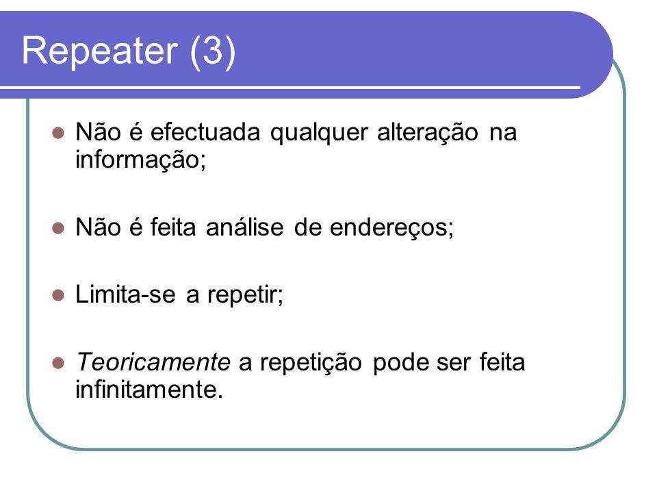 Repeater (3) Não é efectuada qualquer alteração na informação; Não é feita análise de endereços; Limita-se a repetir; Teoricamente a repetição pode se
