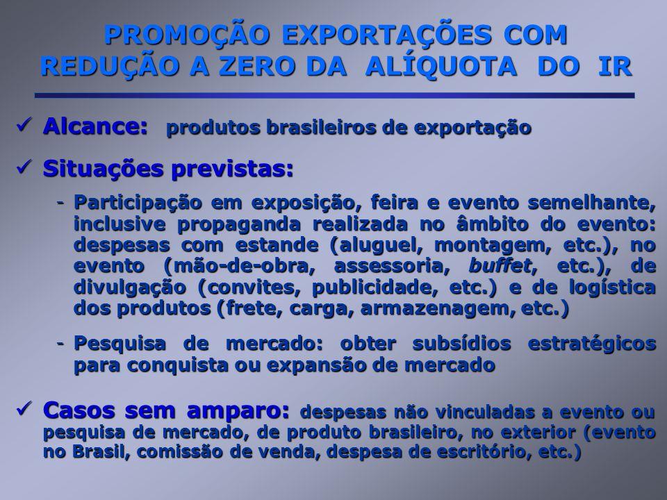 Alcance: produtos brasileiros de exportação Alcance: produtos brasileiros de exportação Situações previstas: Situações previstas: -Participação em exposição, feira e evento semelhante, inclusive propaganda realizada no âmbito do evento: despesas com estande (aluguel, montagem, etc.), no evento (mão-de-obra, assessoria, buffet, etc.), de divulgação (convites, publicidade, etc.) e de logística dos produtos (frete, carga, armazenagem, etc.) -Pesquisa de mercado: obter subsídios estratégicos para conquista ou expansão de mercado Casos sem amparo: despesas não vinculadas a evento ou pesquisa de mercado, de produto brasileiro, no exterior (evento no Brasil, comissão de venda, despesa de escritório, etc.) Casos sem amparo: despesas não vinculadas a evento ou pesquisa de mercado, de produto brasileiro, no exterior (evento no Brasil, comissão de venda, despesa de escritório, etc.) PROMOÇÃO EXPORTAÇÕES COM REDUÇÃO A ZERO DA ALÍQUOTA DO IR