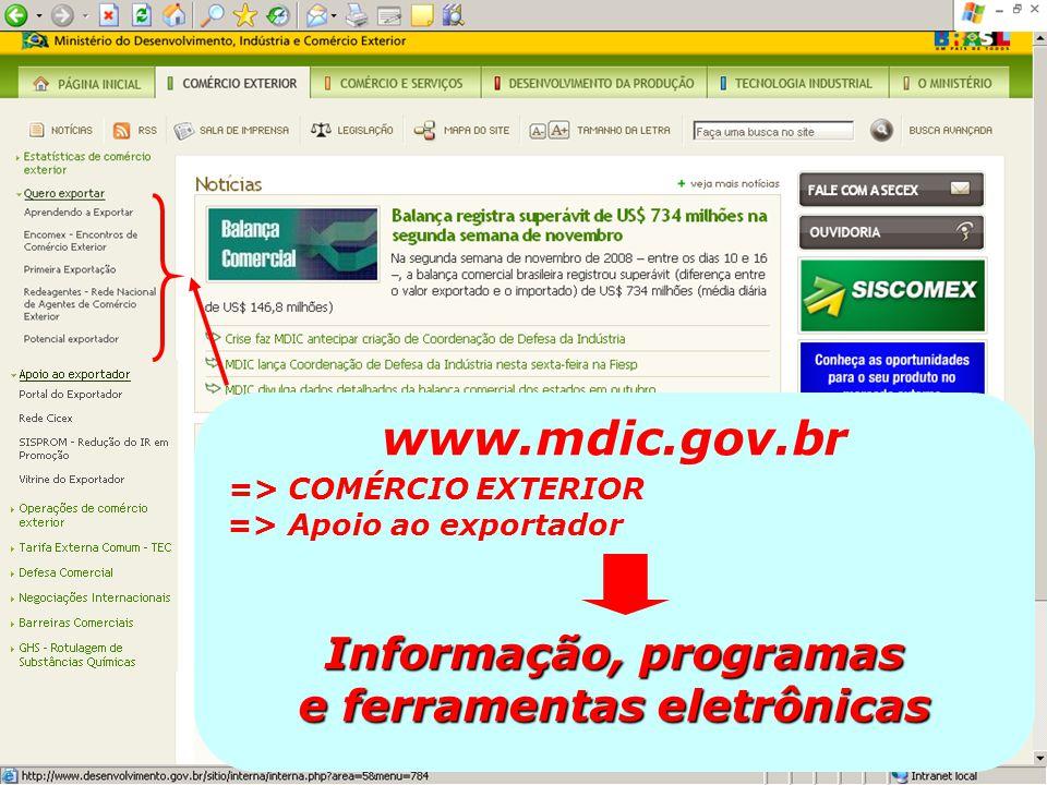 www.mdic.gov.br => COMÉRCIO EXTERIOR => Apoio ao exportador Informação, programas e ferramentas eletrônicas