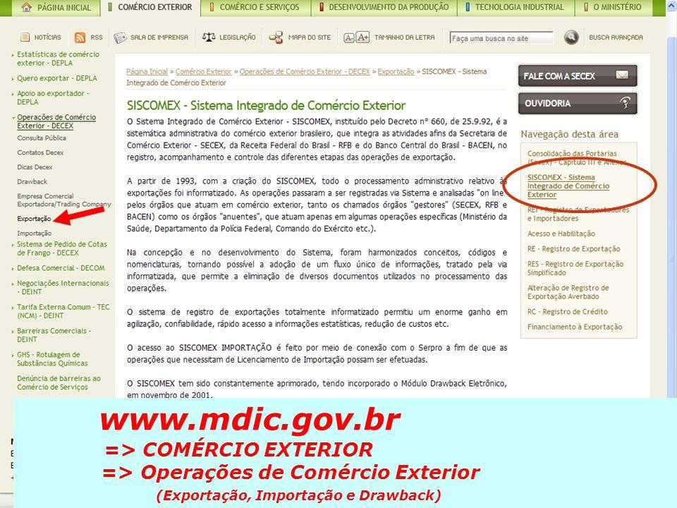 www.mdic.gov.br => COMÉRCIO EXTERIOR => Operações de Comércio Exterior (Exportação, Importação e Drawback)